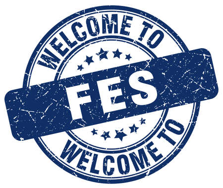 fes: welcome to Fes blue round vintage stamp Illustration