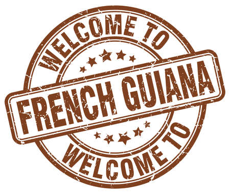 guiana: welcome to French Guiana brown round vintage stamp Illustration