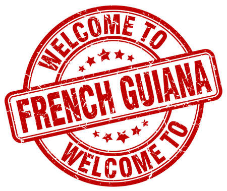 guiana: welcome to French Guiana red round vintage stamp