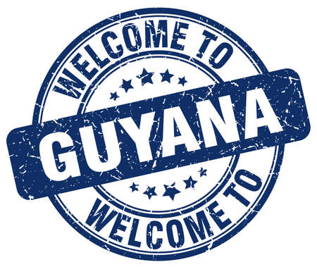 guyana: welcome to Guyana blue round vintage stamp Illustration