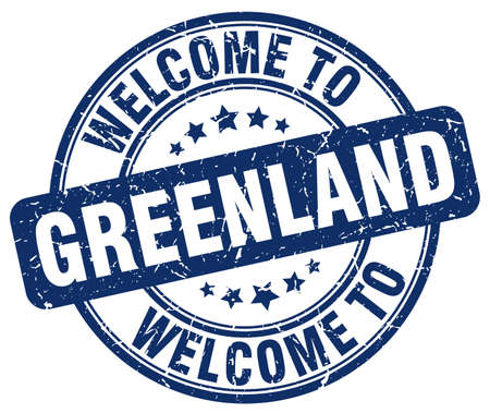 greenland: welcome to Greenland blue round vintage stamp Illustration