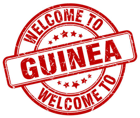 guinea: welcome to Guinea red round vintage stamp Illustration