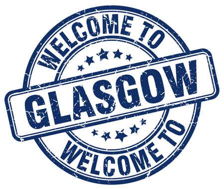 welcome to Glasgow blue round vintage stamp Illustration