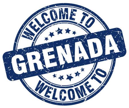 grenada: welcome to Grenada blue round vintage stamp