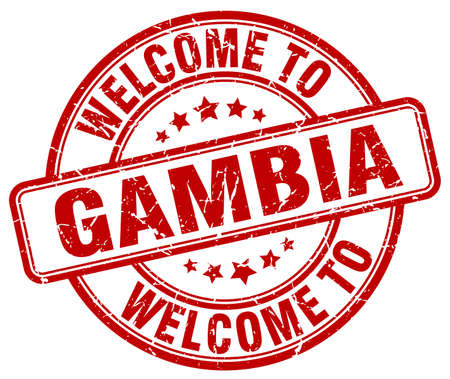 gambia: welcome to Gambia red round vintage stamp Illustration