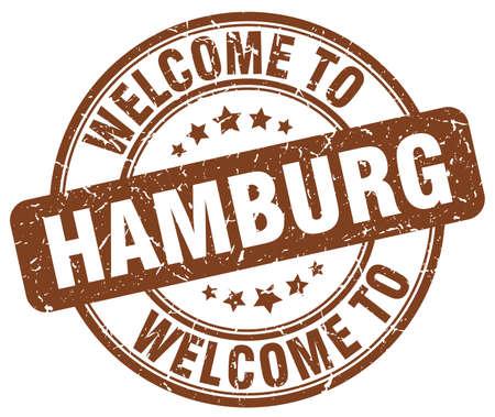 hamburg: welcome to Hamburg brown round vintage stamp
