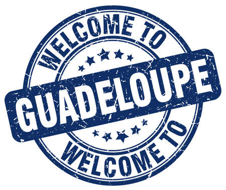 guadeloupe: welcome to Guadeloupe blue round vintage stamp