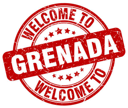 grenada: welcome to Grenada red round vintage stamp Illustration