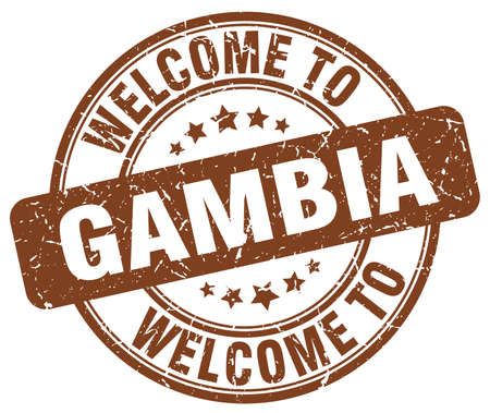 gambia: welcome to Gambia brown round vintage stamp
