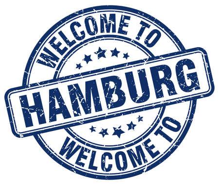 hamburg: welcome to Hamburg blue round vintage stamp