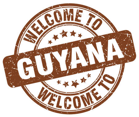 guyana: welcome to Guyana brown round vintage stamp