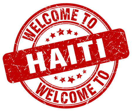 haiti: welcome to Haiti red round vintage stamp Illustration