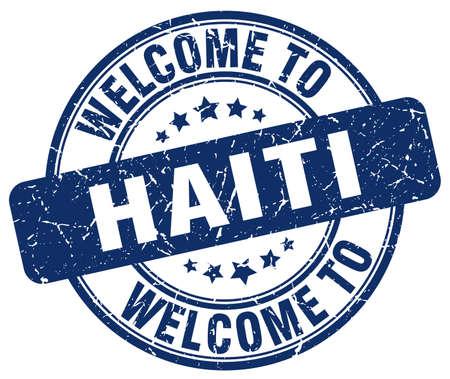 haiti: welcome to Haiti blue round vintage stamp