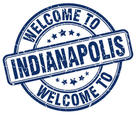 indianapolis: welcome to Indianapolis blue round vintage stamp