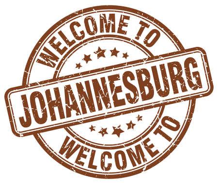 johannesburg: welcome to Johannesburg brown round vintage stamp Illustration