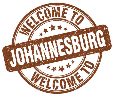 welcome to Johannesburg brown round vintage stamp Illustration