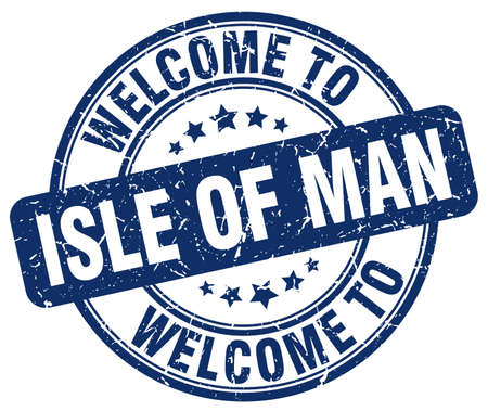 isles: welcome to Isle Of Man blue round vintage stamp Illustration