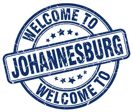 welcome to Johannesburg blue round vintage stamp