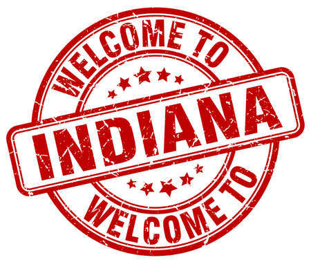 indiana: welcome to Indiana red round vintage stamp Illustration
