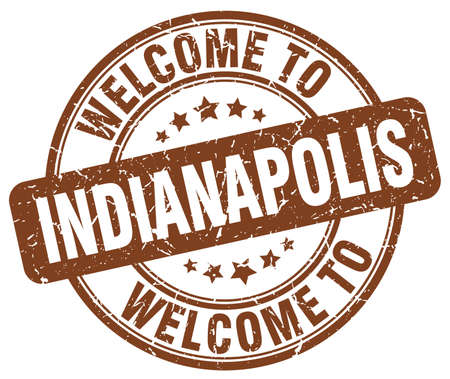 indianapolis: welcome to Indianapolis brown round vintage stamp