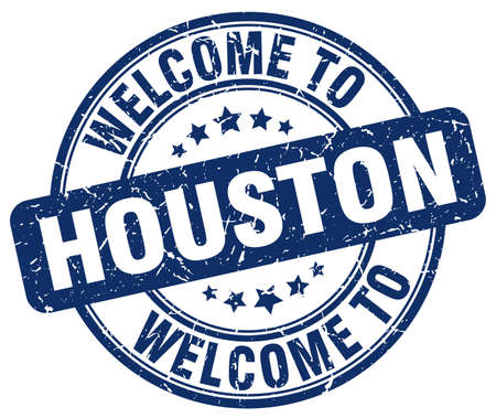 houston: welcome to Houston blue round vintage stamp