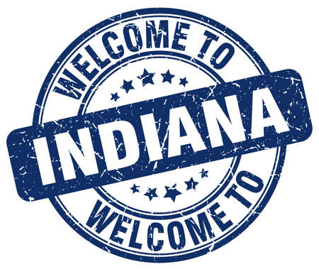 indiana: welcome to Indiana blue round vintage stamp