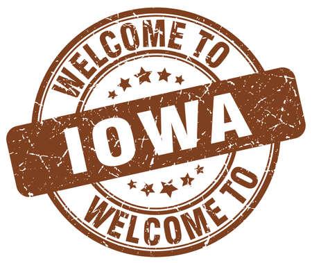 iowa: welcome to Iowa brown round vintage stamp