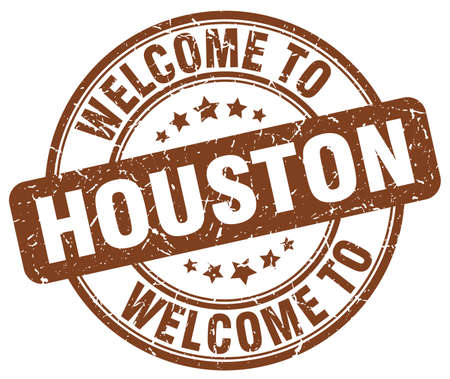 houston: welcome to Houston brown round vintage stamp Illustration