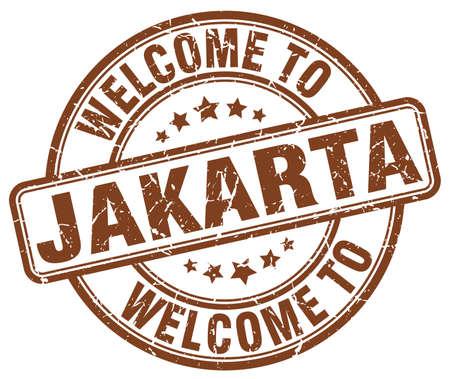 jakarta: welcome to Jakarta brown round vintage stamp