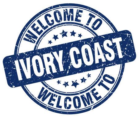 coast: welcome to Ivory Coast blue round vintage stamp