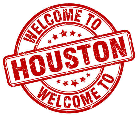 houston: welcome to Houston red round vintage stamp