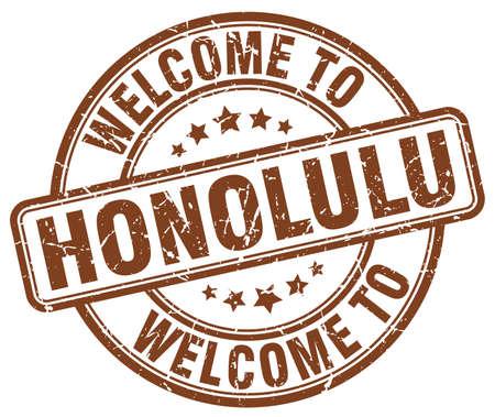 honolulu: welcome to Honolulu brown round vintage stamp Illustration