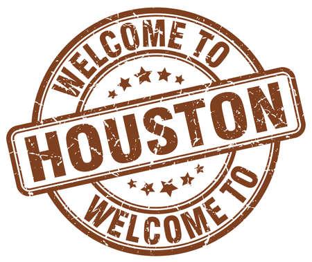 houston: welcome to Houston brown round vintage stamp Illustration
