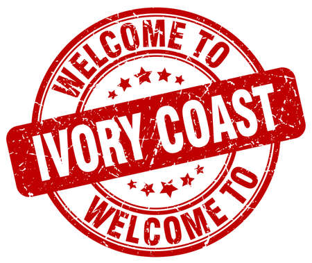 coast: welcome to Ivory Coast red round vintage stamp Illustration