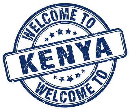 kenya: welcome to Kenya blue round vintage stamp Illustration