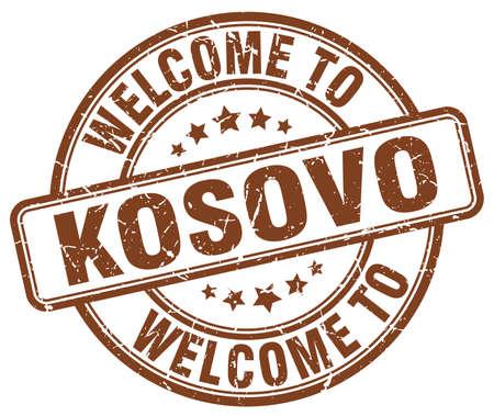 vintage stamp: welcome to Kosovo brown round vintage stamp Illustration