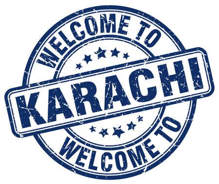 karachi: welcome to Karachi blue round vintage stamp