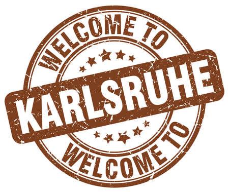 karlsruhe: welcome to Karlsruhe brown round vintage stamp