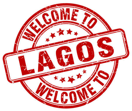 lagos: welcome to Lagos red round vintage stamp