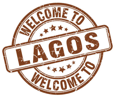 lagos: welcome to Lagos brown round vintage stamp