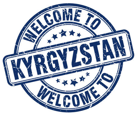 kyrgyzstan: welcome to Kyrgyzstan blue round vintage stamp