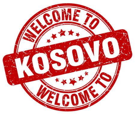 kosovo: welcome to Kosovo red round vintage stamp