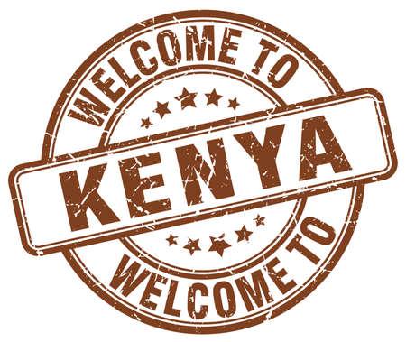 kenya: welcome to Kenya brown round vintage stamp
