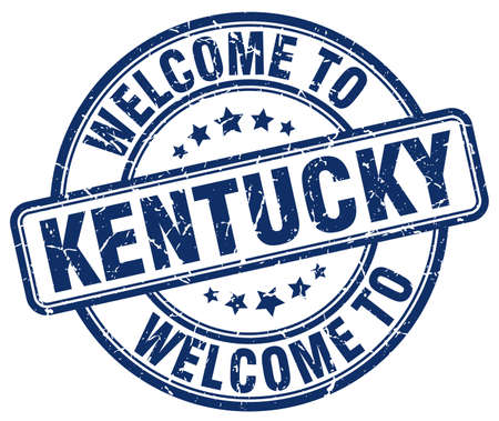 kentucky: welcome to Kentucky blue round vintage stamp