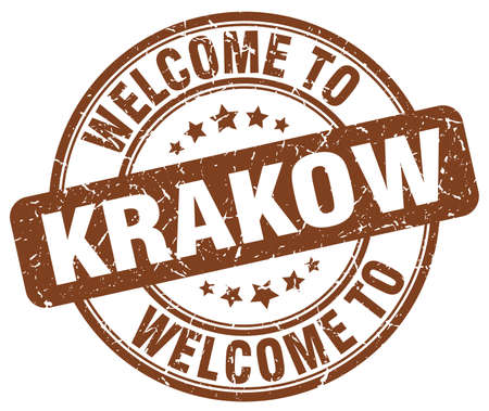 krakow: welcome to Krakow brown round vintage stamp
