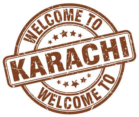 karachi: welcome to Karachi brown round vintage stamp