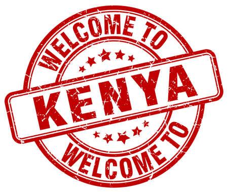 kenya: welcome to Kenya red round vintage stamp Illustration