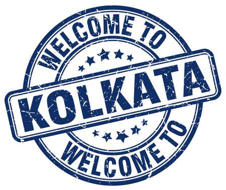 kolkata: welcome to Kolkata blue round vintage stamp Illustration