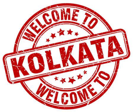 kolkata: welcome to Kolkata red round vintage stamp