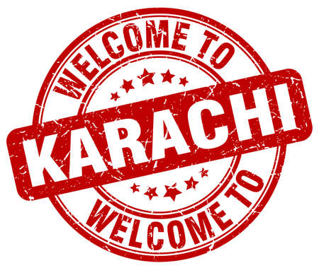 karachi: welcome to Karachi red round vintage stamp